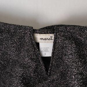 Marci Tops - Black Metallic Flounce Notch Neck Bodysuit- NWT